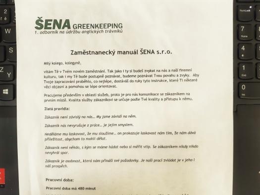 Zaměstnanecký manuál ŠENA greenkeeping